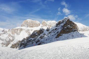 Beautiful winter mountain landscape in Trentino