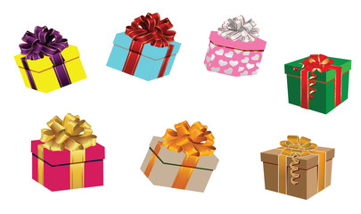 Set of colorful vector gift boxes with bows