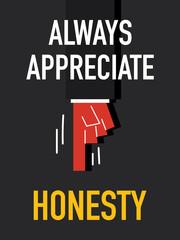 Word ALWAYS APPRECIATE HONESTY
