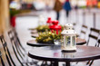 canvas print picture - Parisian outdoor cafe decorated for Christmas