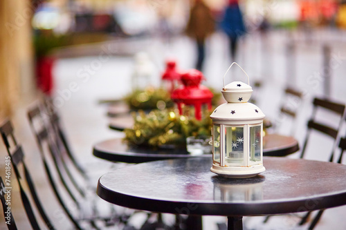 canvas print picture Parisian outdoor cafe decorated for Christmas