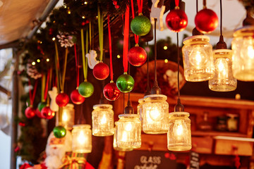 Decorations on a Parisian Christmas market