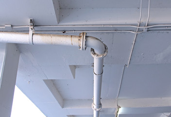 Industrial pipes at plumbing on the building.