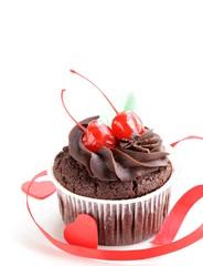 festive (birthday, valentines day) chocolate cupcake