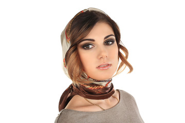beautiful woman in a scarf on her head isolated