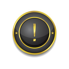 Alert Sign Gold Square Button Icon