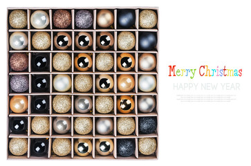 gift box with bright Christmas balls isolated