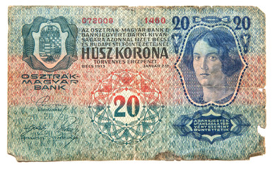 Historical paper money from Austria-Hungary