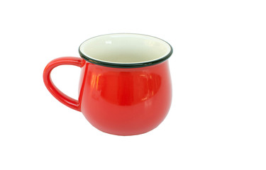 Red cup on white background.