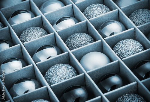 canvas print picture gift box with bright Christmas balls