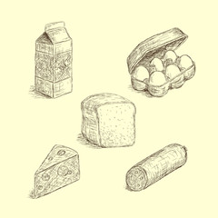 Food illustrations in sketch style, vintage edition