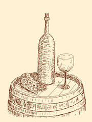 Wine bottle and glass on a barrel, vintage edition