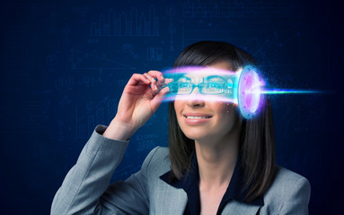 Woman from future with high tech smartphone glasses