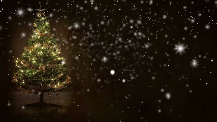 decorated christmas tree with snow
