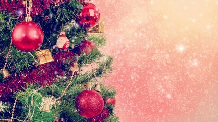 snowy red christmas background with snowflakes