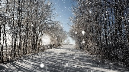 Winter road on a sunny frosty day and snow, christmas background