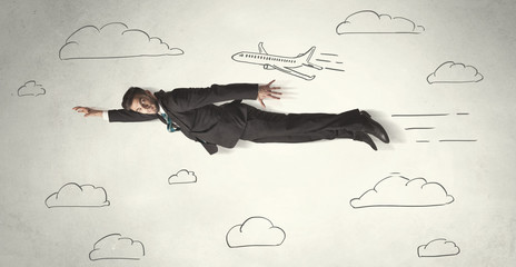 Cheerful business person flying between hand drawn sky clouds