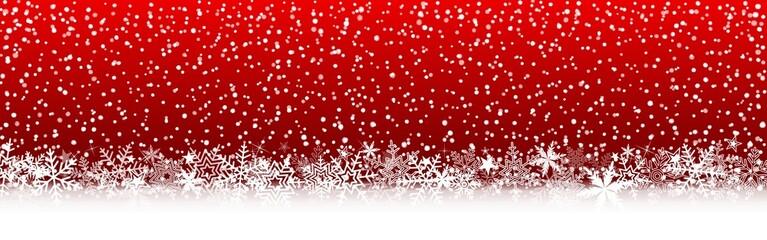 Bannière rouge Noël, flocons de neige, étoiles