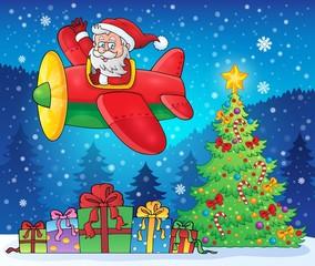 Santa Claus in plane theme image 9