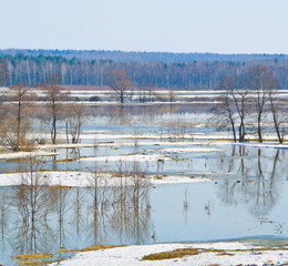 Beginning of spring flood of the river