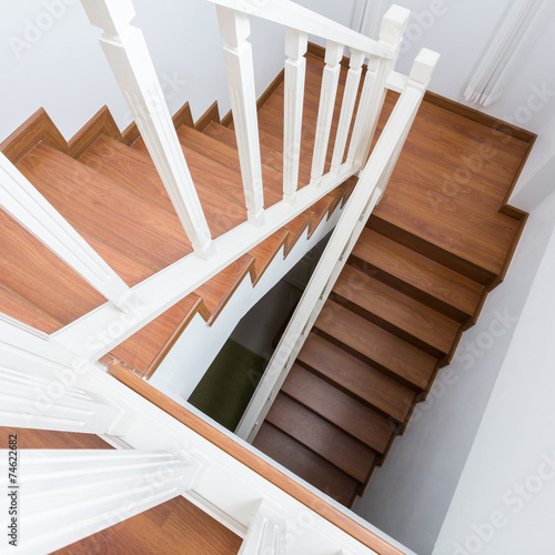 Keuken foto achterwand Trappen wooden staircase made from laminate wood in white modern house