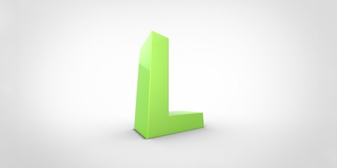 L 3D font big neon green letter on white gray background