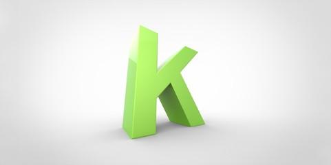 K 3D font big neon green letter on white gray background