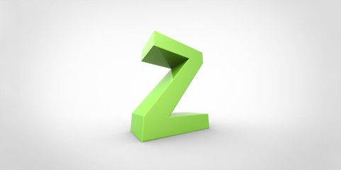 Z 3D font big neon green letter on white gray background