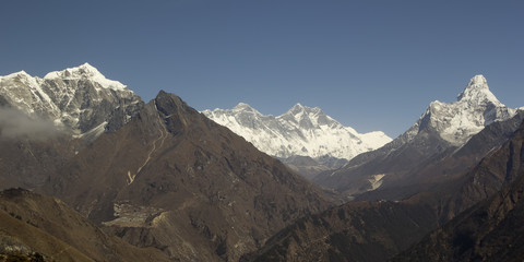 Sagarmatha National Park. Panorama with Everest and Ama Dablam.