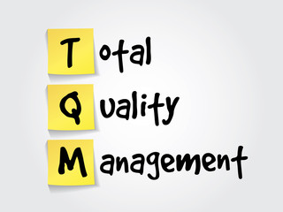 Total Quality Management (TQM) on yellow sticky notes