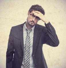 young crazy businessman worried gesture