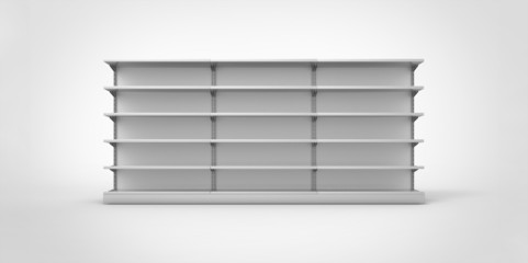 Empty gray retail shelves on a plain background