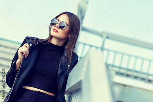 canvas print picture fashion model in sunglasses posing outdoor