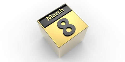 Black and gold 3D Calendar 8 March Women's day