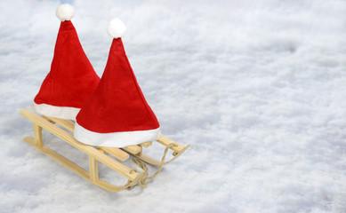 Weihnachten Weihnachtsmützen mit Schlitten