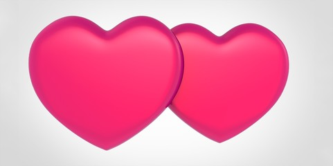 Two purple pink 3D heart shapes
