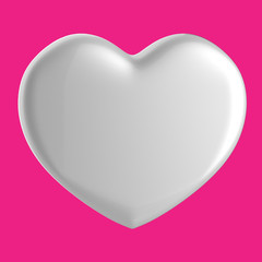 3D white Heart Shape on a purple pink background