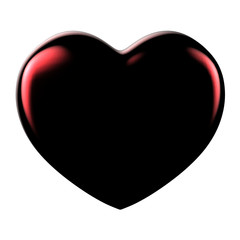 3D black and red Heart Shape on a white background