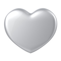 3D silver chrome metal Heart Shape on a white background