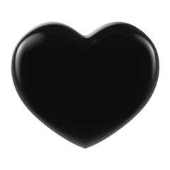3D black metal Heart Shape on a white background