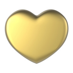 3D yellow gold Heart Shape on a white background