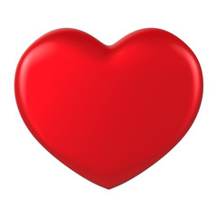 3D red Heart Shape on a white background