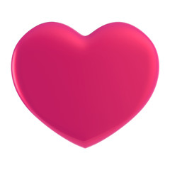 3D pink Heart Shape on a white background