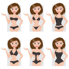 Types of swimsuits. Vector illustration