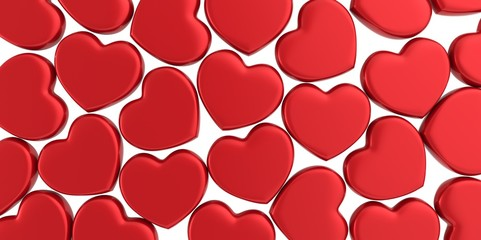Many 3D red Hearts Shapes on a white background