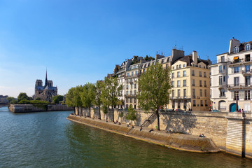 Famous quay of river Seine in Paris with buildings and trees.