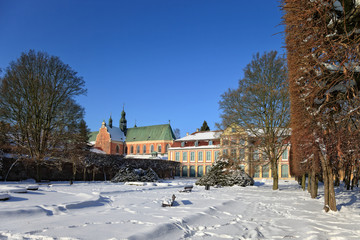 Abbots Palace and the Cathedral in Oliwa winter, Poland.