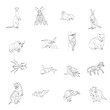 set drawings of animals vector icons