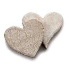 deux coeurs en bois blanc