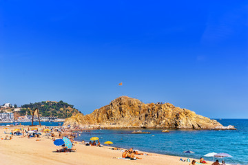Seafront, beach,coast in Blanes ,Suburb of Barcelona, Catalonia